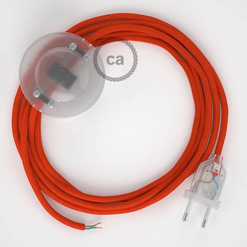 Cableado para lámpara de pie, cable RM15 Efecto Seda Naranja 3 m. Elige tu el color de la clavija y del interruptor!