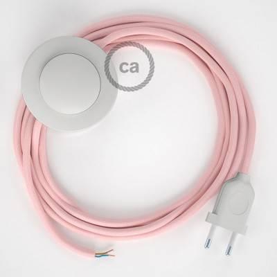 Cableado para lámpara de pie, cable RM16 Efecto Seda Rosa Bebé 3 m. Elige tu el color de la clavija y del interruptor!
