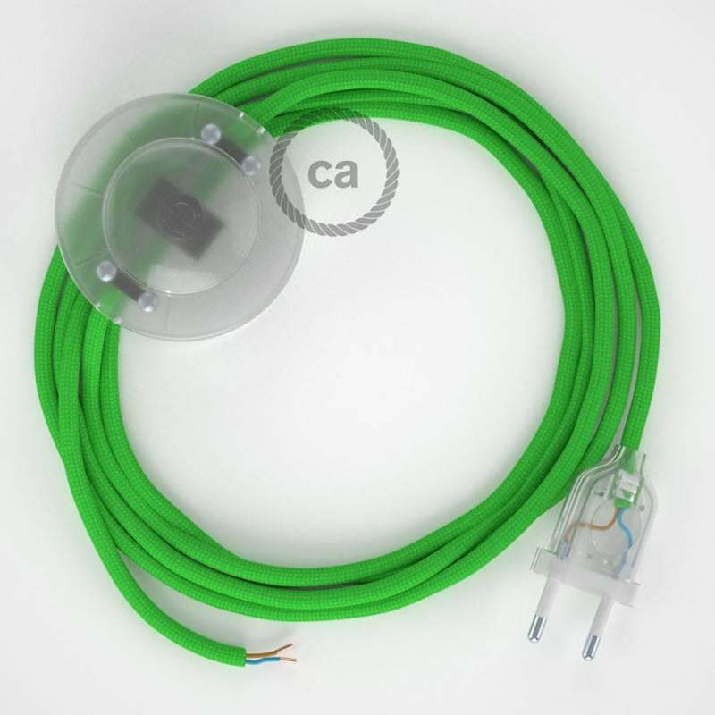 Cableado para lámpara de pie, cable RM18 Efecto Seda Verde Lima 3 m. Elige tu el color de la clavija y del interruptor!