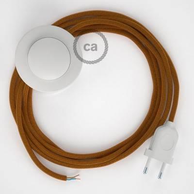 Cableado para lámpara de pie, cable RM22 Efecto Seda Whiskey 3 m. Elige tu el color de la clavija y del interruptor!