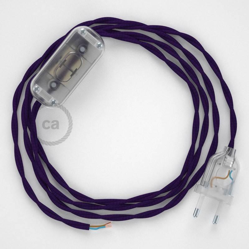 Cableado para lámpara, cable TM14 Efecto Seda Púrpura 1,8m. Elige tu el color de la clavija y del interruptor!