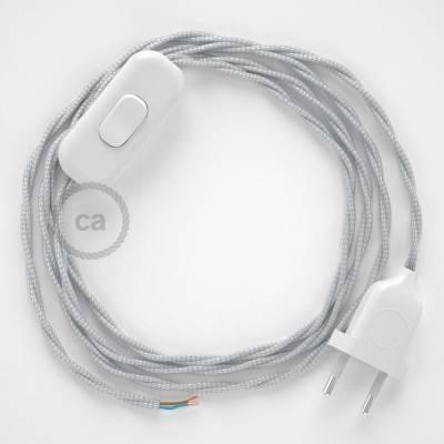 Cableado para lámpara, cable TM02 Efecto Seda Plateado 1,8m. Elige tu el color de la clavija y del interruptor!