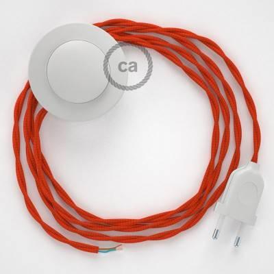 Cableado para lámpara de pie, cable TM15 Efecto Seda Naranja 3 m. Elige tu el color de la clavija y del interruptor!