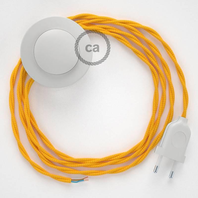 Cableado para lámpara de pie, cable TM10 Efecto Seda Amarillo 3 m. Elige tu el color de la clavija y del interruptor!