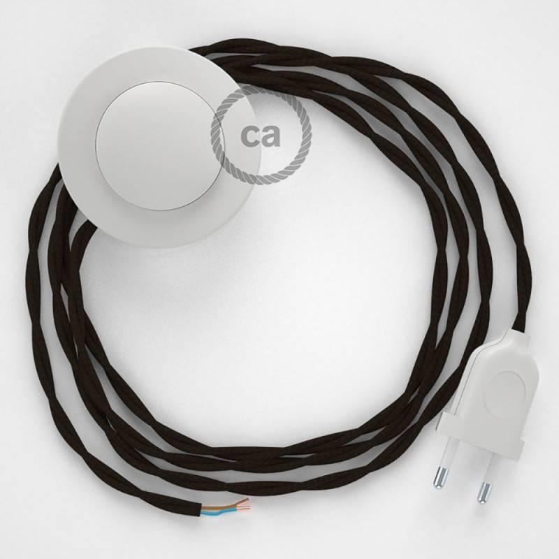 Cableado para lámpara de pie, cable TM13 Efecto Seda Marrón 3 m. Elige tu el color de la clavija y del interruptor!