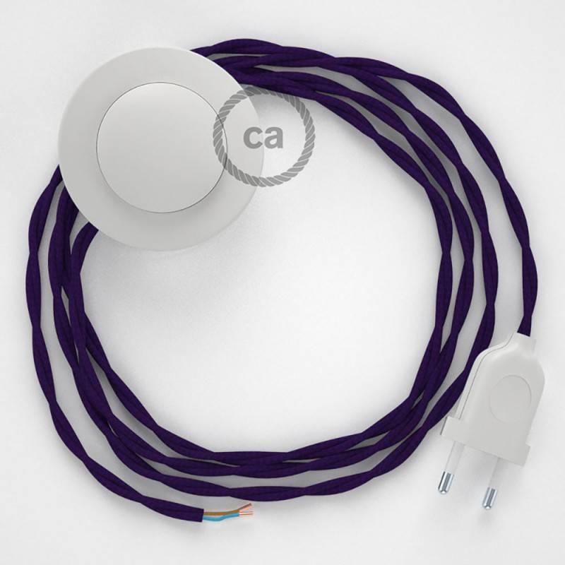Cableado para lámpara de pie, cable TM14 Efecto Seda Púrpura 3 m. Elige tu el color de la clavija y del interruptor!