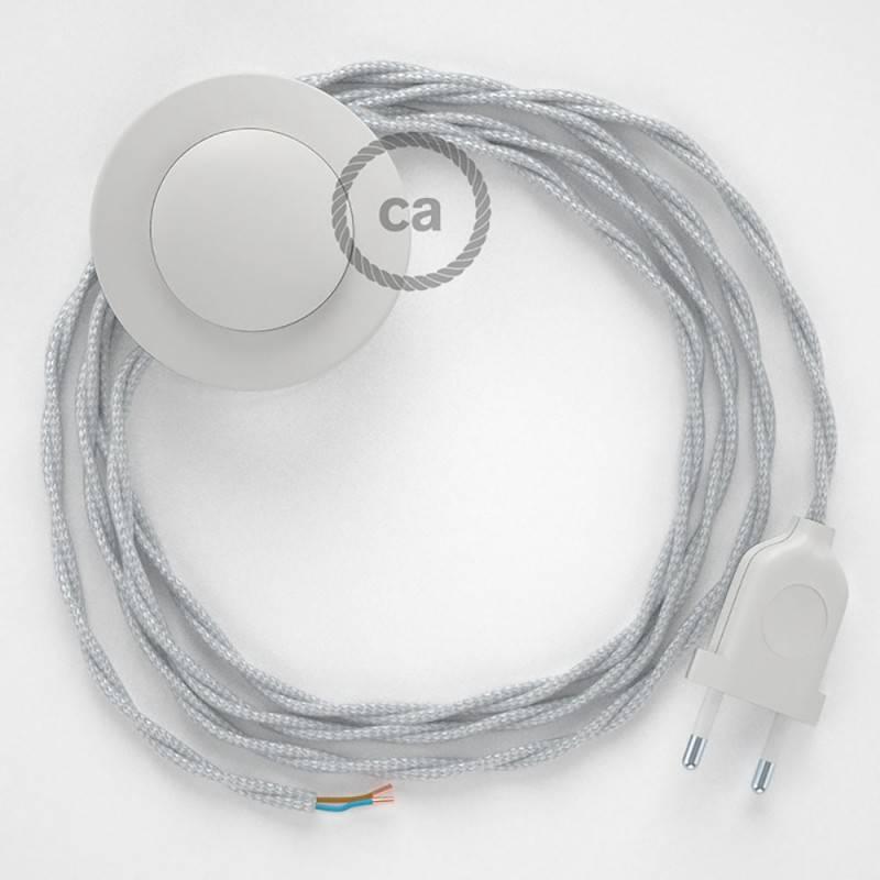 Cableado para lámpara de pie, cable TM02 Efecto Seda Plateado 3 m. Elige tu el color de la clavija y del interruptor!