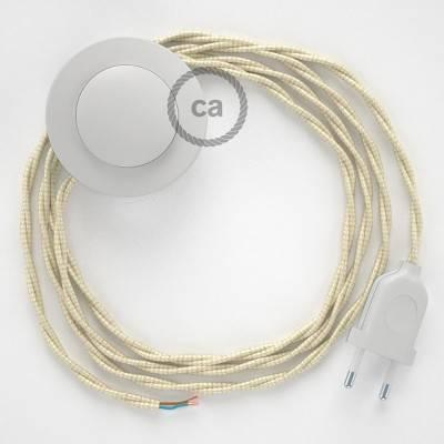 Cableado para lámpara de pie, cable TM00 Efecto Seda Marfil 3 m. Elige tu el color de la clavija y del interruptor!