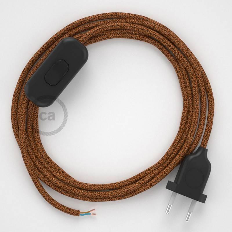 Cableado para lámpara, cable RL22 Efecto Seda Glitter Cobre 1,8m. Elige tu el color de la clavija y del interruptor!