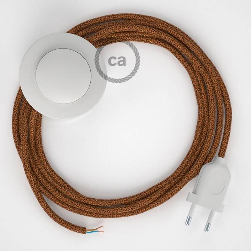 Cableado para lámpara de pie, cable RL22 Efecto Seda Glitter Cobre 3 m. Elige tu el color de la clavija y del interruptor!