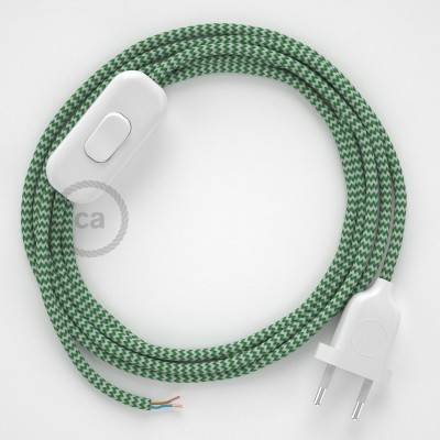 Cableado para lámpara, cable RZ06 Efecto Seda ZigZag Blanco Verde 1,8m. Elige tu el color de la clavija y del interruptor!