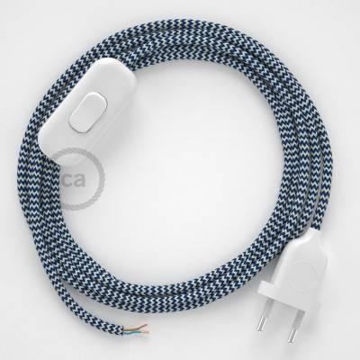 Cableado para lámpara, cable RZ12 Efecto Seda ZigZag Blanco Azul 1,8m. Elige tu el color de la clavija y del interruptor!