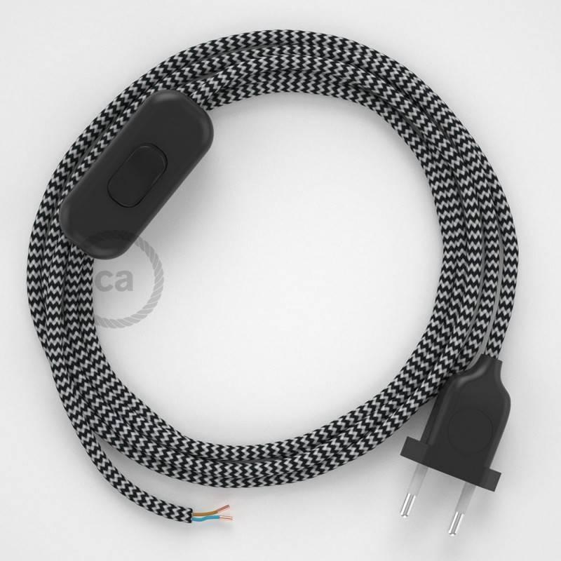Cableado para lámpara, cable RZ04 Efecto Seda ZigZag Blanco Negro 1,8m. Elige tu el color de la clavija y del interruptor!