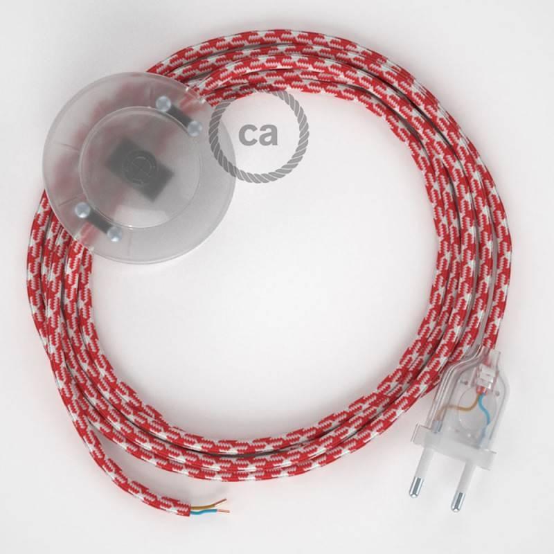 Cableado para lámpara de pie, cable RP09 Efecto Seda Bicolor Blanco-Rojo 3 m. Elige tu el color de la clavija y del interruptor!