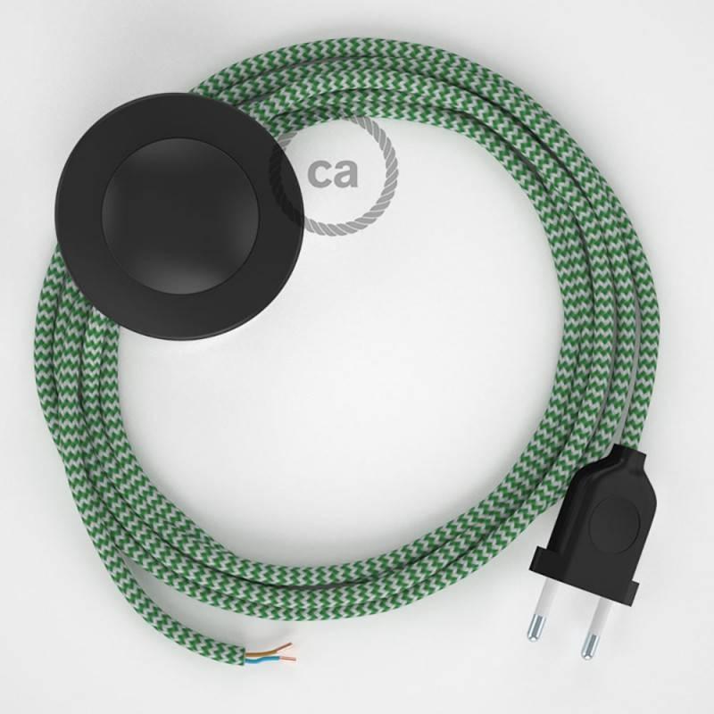 Cableado para lámpara de pie, cable RZ06 Efecto Seda ZigZag Blanco Verde 3 m. Elige tu el color de la clavija y del interruptor!