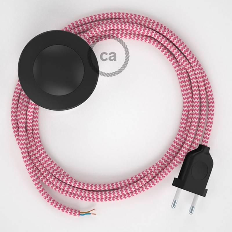 Cableado para lámpara de pie, cable RZ08 Efecto Seda ZigZag Fuchsia 3 m. Elige tu el color de la clavija y del interruptor!