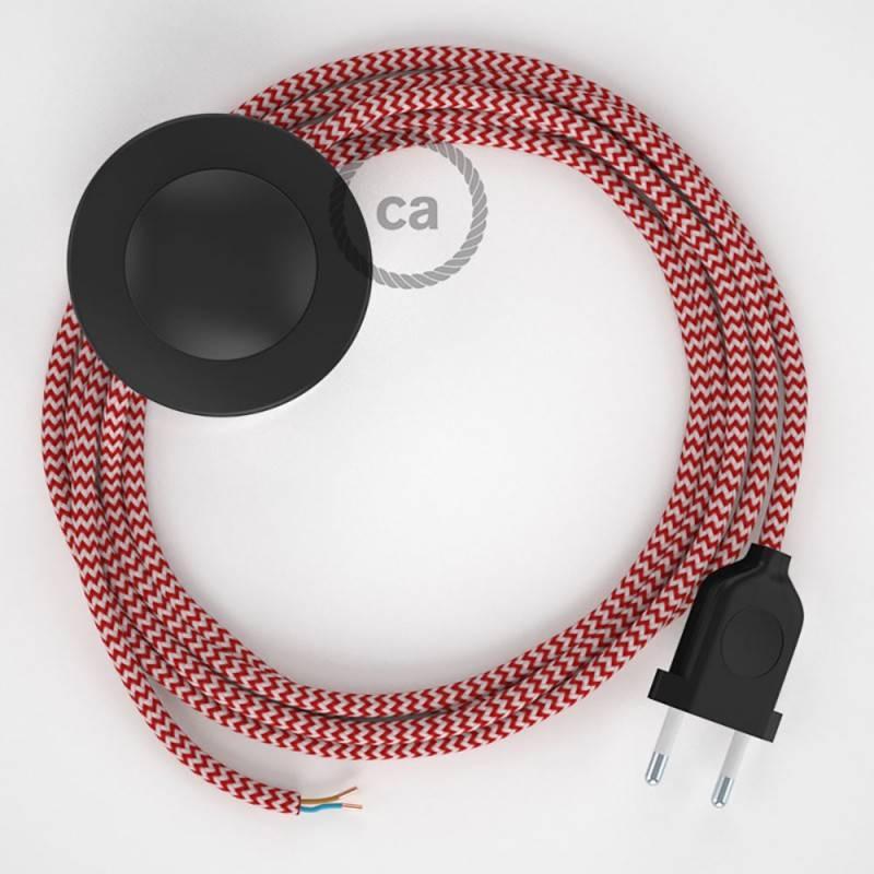 Cableado para lámpara de pie, cable RZ09 Efecto Seda ZigZag Blanco Rojo 3 m. Elige tu el color de la clavija y del interruptor!
