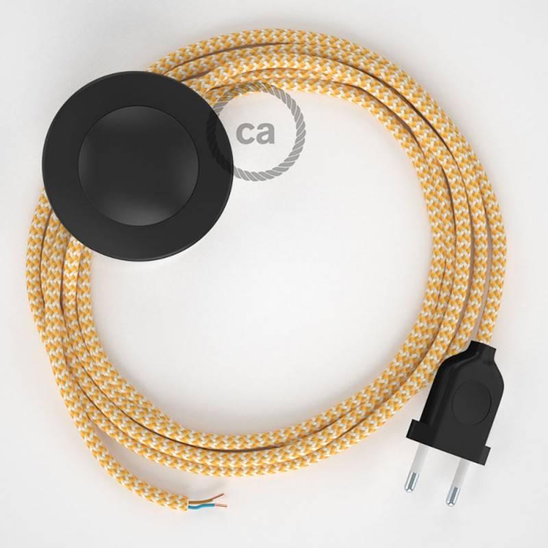Cableado para lámpara de pie, cable RZ10 Efecto Seda ZigZag Amarillo 3 m. Elige tu el color de la clavija y del interruptor!