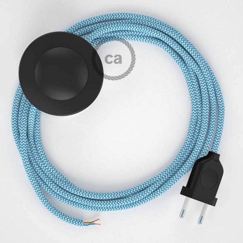Cableado para lámpara de pie, cable RZ11 Efecto Seda ZigZag Celeste 3 m. Elige tu el color de la clavija y del interruptor!