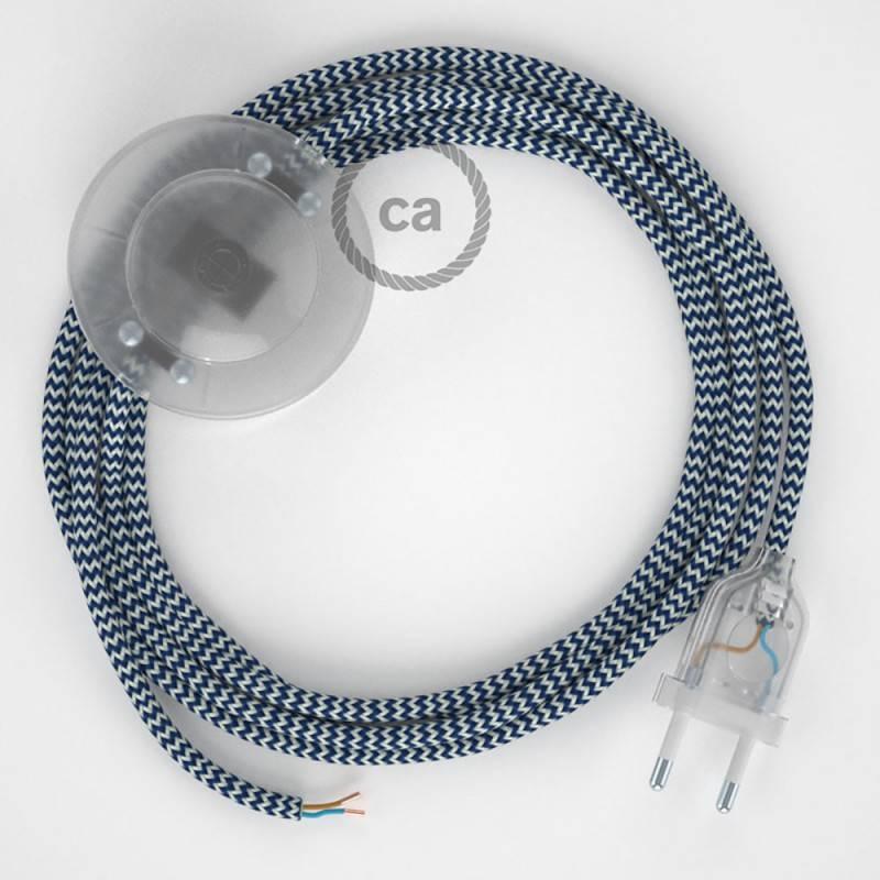 Cableado para lámpara de pie, cable RZ12 Efecto Seda ZigZag Blanco Azul 3 m. Elige tu el color de la clavija y del interruptor!