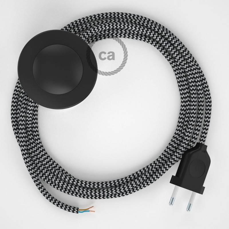 Cableado para lámpara de pie, cable RZ04 Efecto Seda ZigZag Blanco Negro 3 m. Elige tu el color de la clavija y del interruptor!