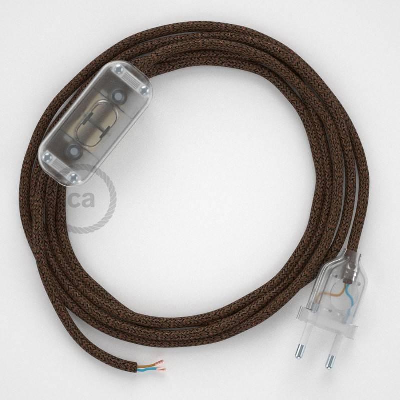 Cableado para lámpara, cable RL13 Efecto Seda Glitter Marrón 1,8m. Elige tu el color de la clavija y del interruptor!