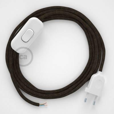 Cableado para lámpara, cable RN04 Lino Natural Marrón 1,8m. Elige tu el color de la clavija y del interruptor!