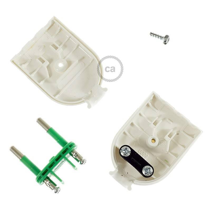 Clavija Blanca 2 Polos 10A (pequeña) – IMQ – Made in Italy
