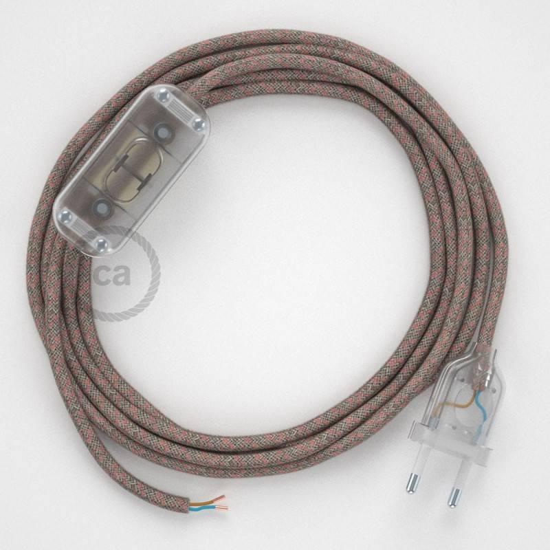 Cableado para lámpara, cable RD61 Algodón y Lino Rombo Rosa Viejo 1,8m. Elige tu el color de la clavija y del interruptor!
