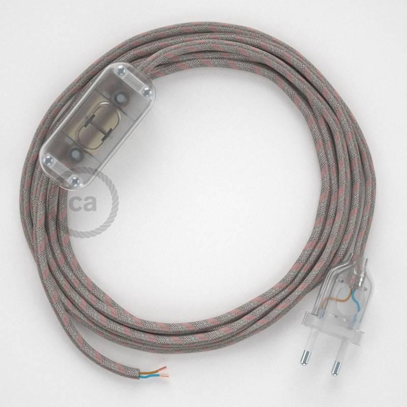 Cableado para lámpara, cable RD51 Algodón y Lino Stripes Rosa Viejo 1,8m. Elige tu el color de la clavija y del interruptor!