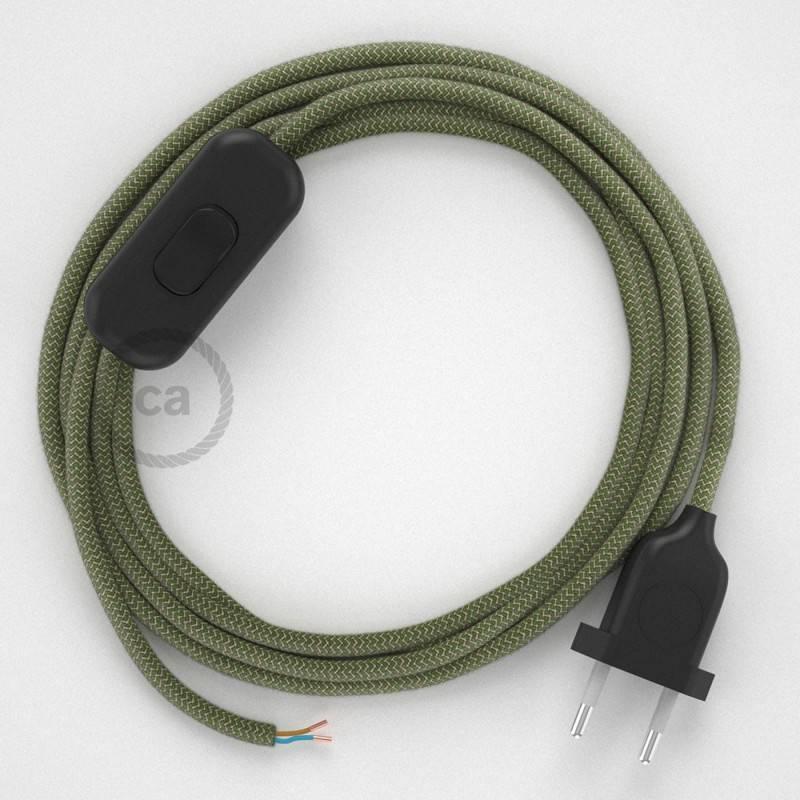 Cableado para lámpara, cable RD72 Algodón y Lino ZigZag Verde Tomillo 1,8m. Elige tu el color de la clavija y del interruptor!