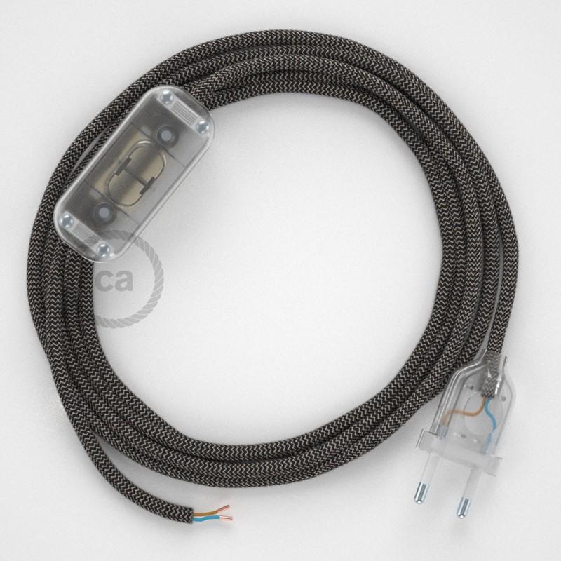 Cableado para lámpara, cable RD74 Algodón y Lino ZigZag Antracita 1,8m. Elige tu el color de la clavija y del interruptor!