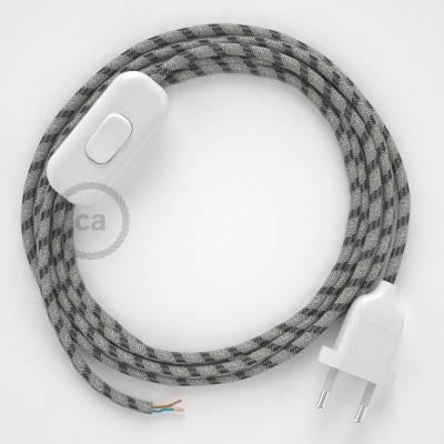 Cableado para lámpara, cable RD54 Algodón y Lino Stripes Antracita 1,8m. Elige tu el color de la clavija y del interruptor!