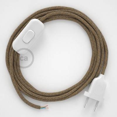 Cableado para lámpara, cable RS82 Algodón y Lino Natural Marrón 1,8m. Elige tu el color de la clavija y del interruptor!