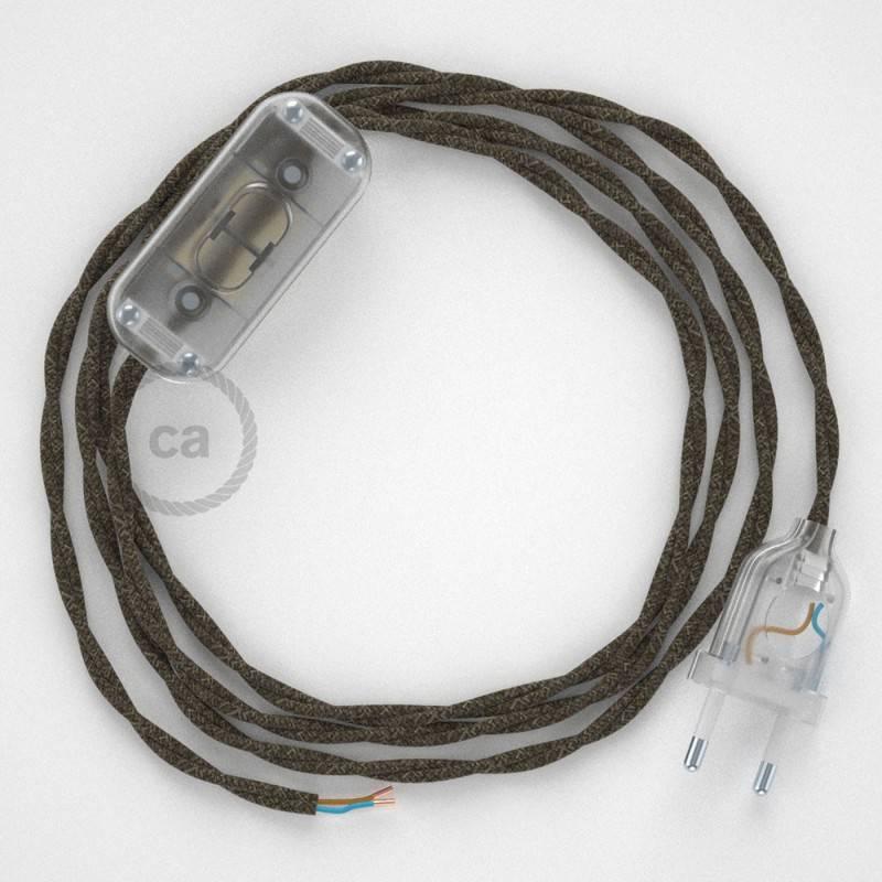 Cableado para lámpara, cable TN04 Lino Natural Marrón 1,8m. Elige tu el color de la clavija y del interruptor!