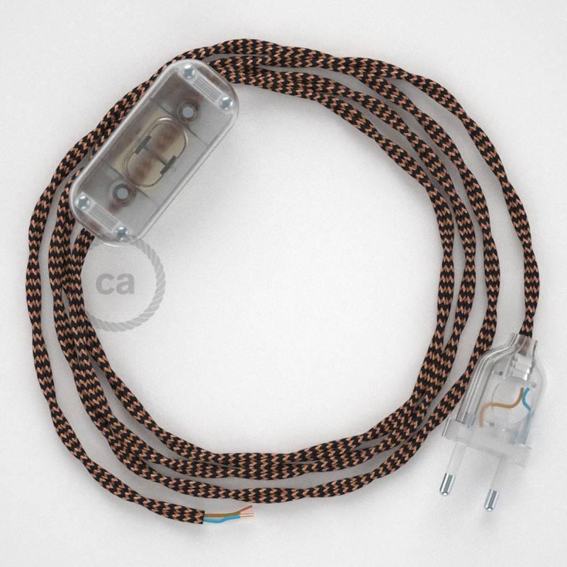 Cableado para lámpara, cable TZ22 Efecto Seda Negro y Whisky 1,8m. Elige tu el color de la clavija y del interruptor!
