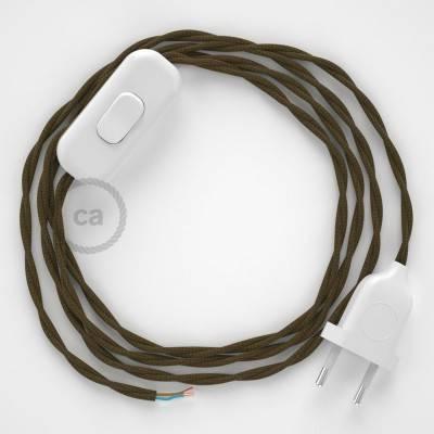 Cableado para lámpara, cable TC13 Algodón Marrón 1,8m. Elige tu el color de la clavija y del interruptor!