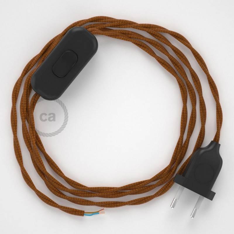 Cableado para lámpara, cable TM22 Efecto Seda Whisky 1,8m. Elige tu el color de la clavija y del interruptor!