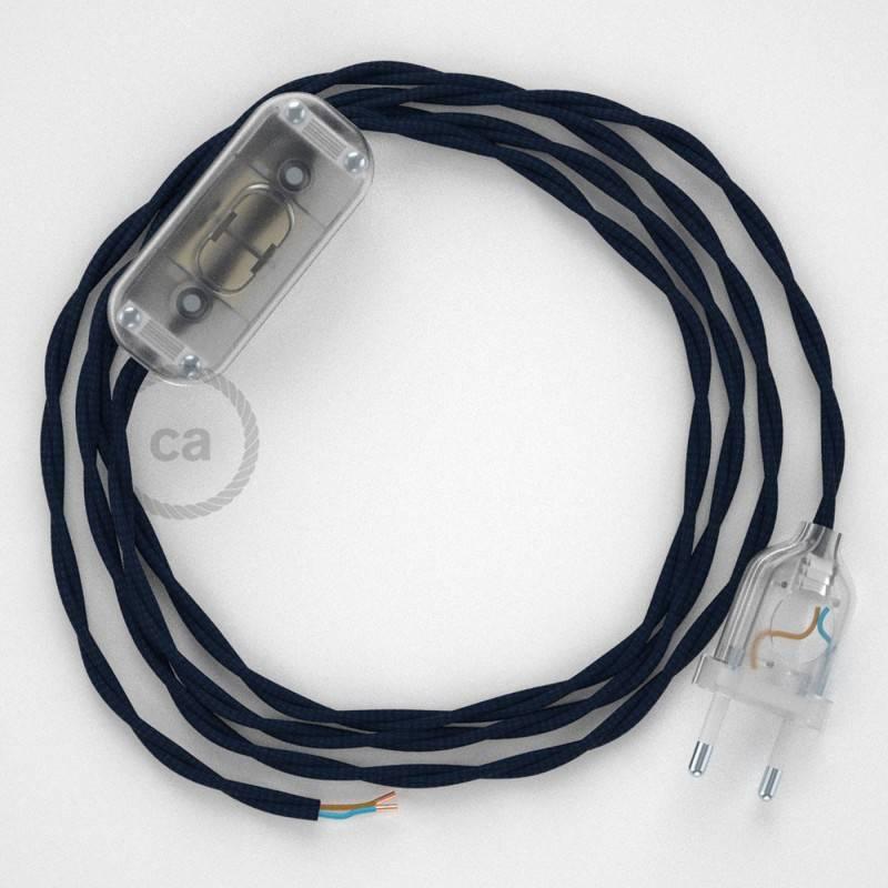 Cableado para lámpara, cable TM20 Efecto Seda Azul Oscuro 1,8m. Elige tu el color de la clavija y del interruptor!