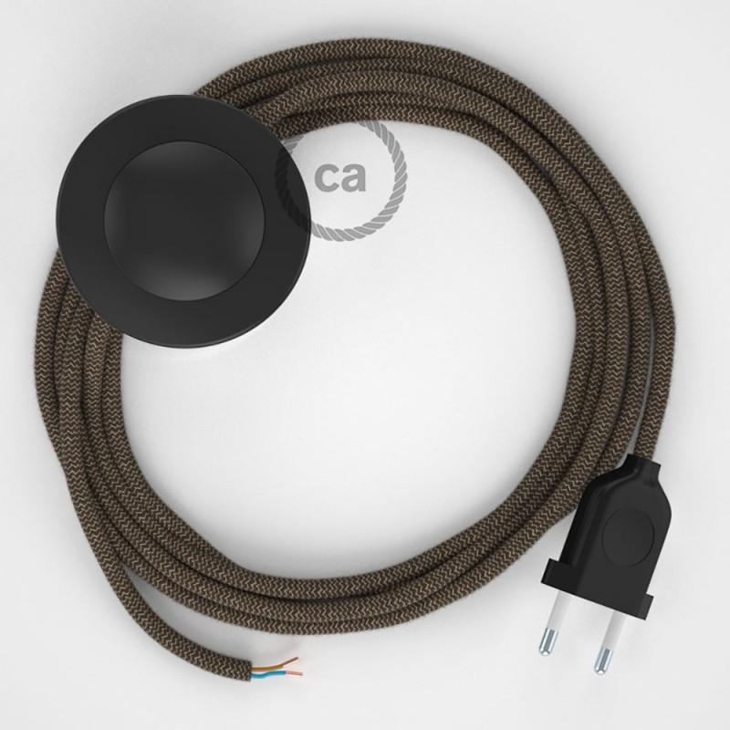 Cableado para lámpara de pie, cable RD73 ZigZag Corteza 3 m. Elige tu el color de la clavija y del interruptor!