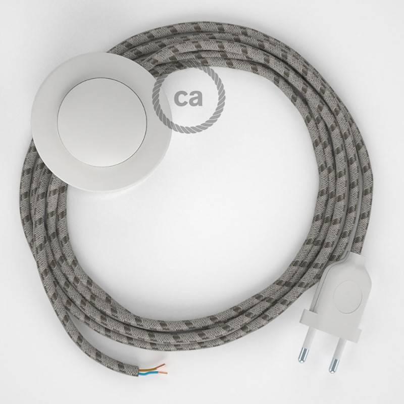 Cableado para lámpara de pie, cable RD53 Stripes Corteza 3 m. Elige tu el color de la clavija y del interruptor!