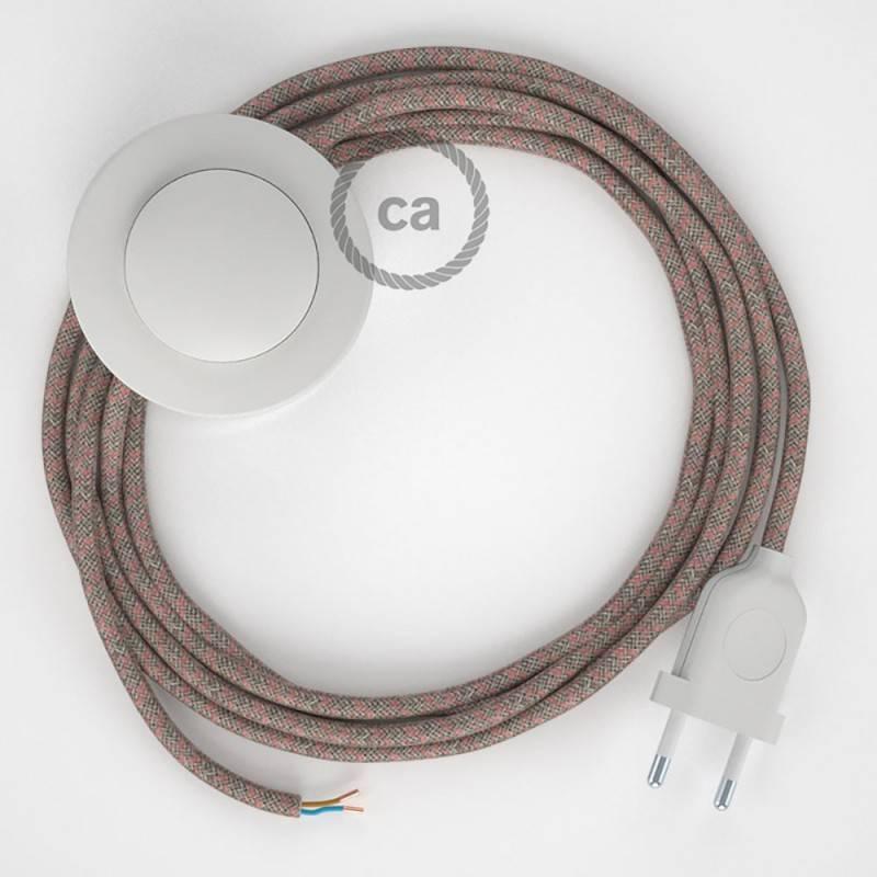 Cableado para lámpara de pie, cable RD61 Rombo Rosa Viejo 3 m. Elige tu el color de la clavija y del interruptor!