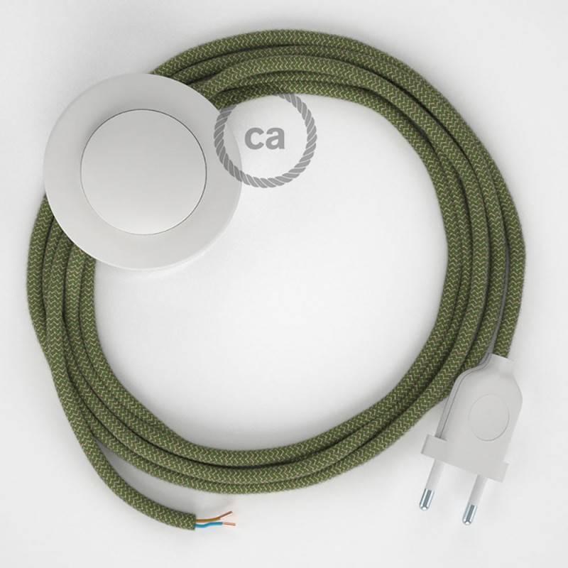 Cableado para lámpara de pie, cable RD72 ZigZag Verde Tomillo 3 m. Elige tu el color de la clavija y del interruptor!