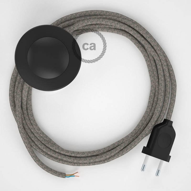 Cableado para lámpara de pie, cable RD62 Rombo Verde Tomillo 3 m. Elige tu el color de la clavija y del interruptor!