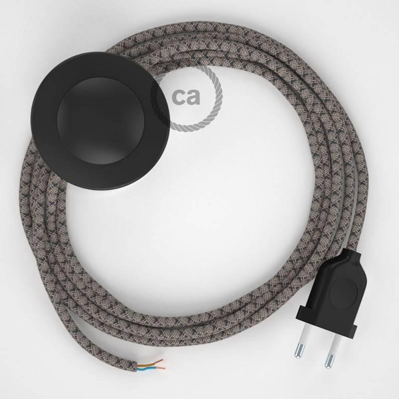 Cableado para lámpara de pie, cable RD64 Rombo Antracita 3 m. Elige tu el color de la clavija y del interruptor!