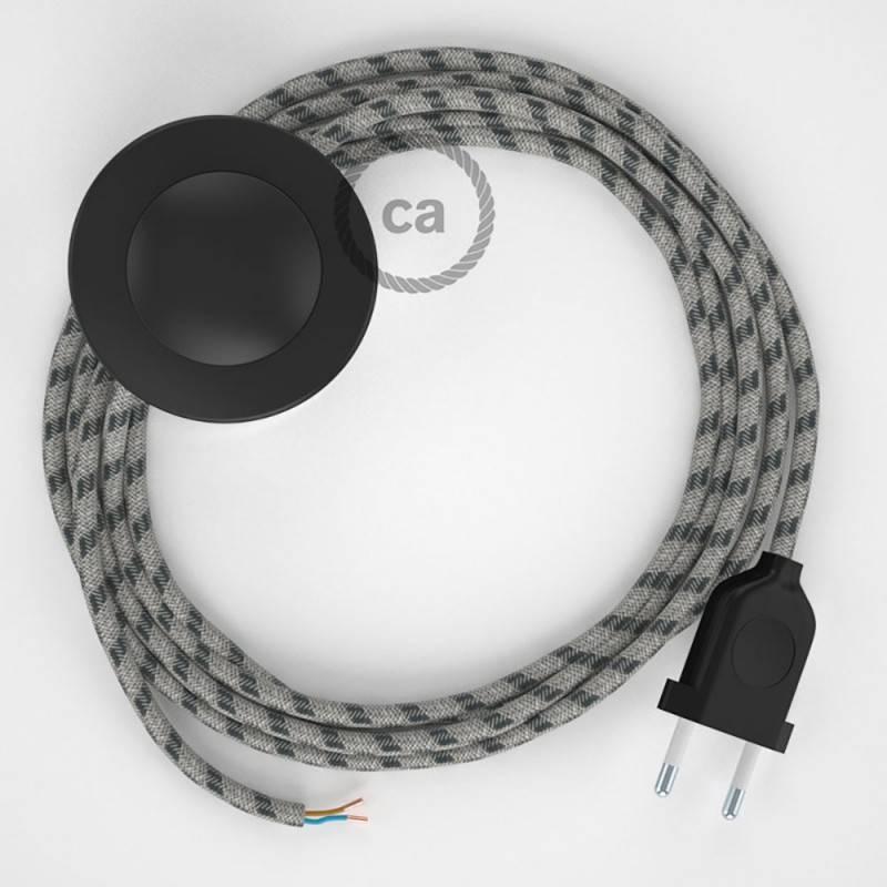 Cableado para lámpara de pie, cable RD54 Stripes Antracita 3 m. Elige tu el color de la clavija y del interruptor!