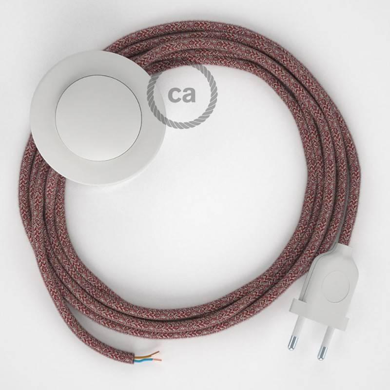 Cableado para lámpara de pie, cable RS83 Algodón y Lino Natural Rojo 3 m. Elige tu el color de la clavija y del interruptor!