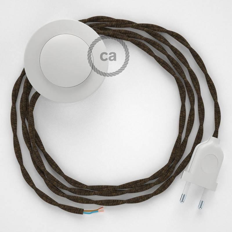Cableado para lámpara de pie, cable TN04 Lino Natural Marrón 3 m. Elige tu el color de la clavija y del interruptor!