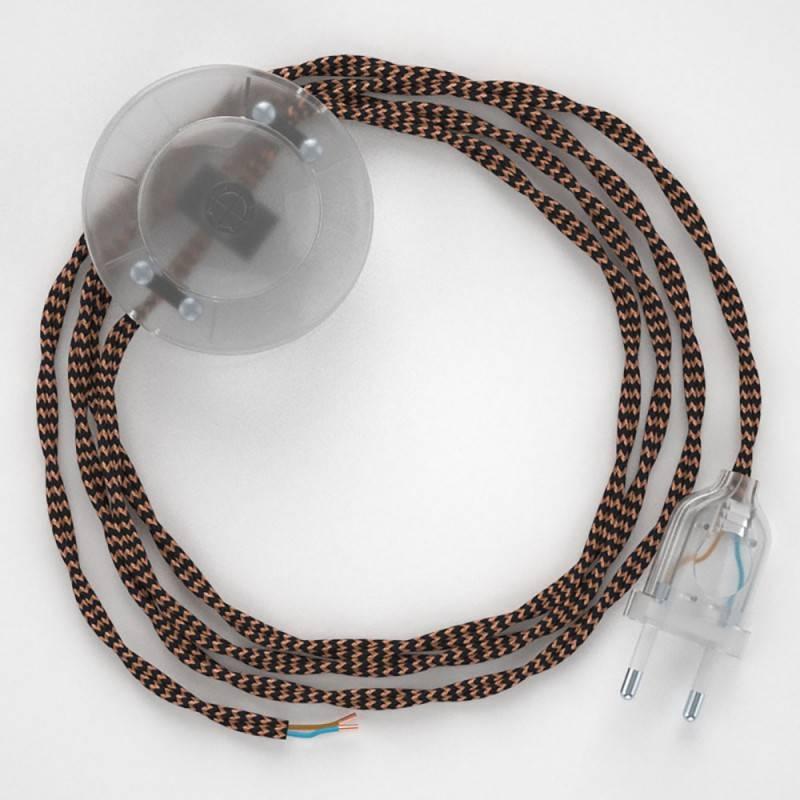 Cableado para lámpara de pie, cable TZ22 Efecto Seda Negro y Whisky 3 m. Elige tu el color de la clavija y del interruptor!