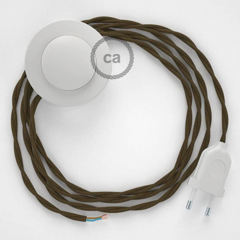 Cableado para lámpara de pie, cable TC13 Algodón Marrón 3 m. Elige tu el color de la clavija y del interruptor!